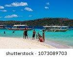coron palawan philippines april ...   Shutterstock . vector #1073089703