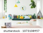 yellow and green lamp above... | Shutterstock . vector #1073108957