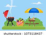 outdoor picnic in park table... | Shutterstock .eps vector #1073118437