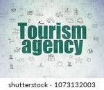 tourism concept  painted green... | Shutterstock . vector #1073132003