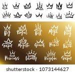crown logo graffiti icon. queen ... | Shutterstock .eps vector #1073144627