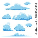 vector blue clouds on white... | Shutterstock .eps vector #1073168363