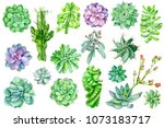 set of painted green plants ... | Shutterstock . vector #1073183717