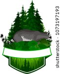 vector woodland emblem with... | Shutterstock .eps vector #1073197193