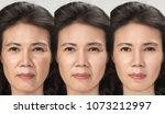 anti aging process  asian woman ... | Shutterstock . vector #1073212997