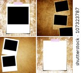 set of grunge paper and photo... | Shutterstock . vector #107323787