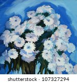 bunch of flowers, painting on a canvas,  illustration - stock photo