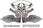 skull tattoo. life is short  | Shutterstock .eps vector #1073322323