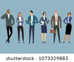 cartoon office workers set. men ... | Shutterstock .eps vector #1073329883