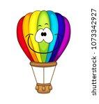 cute cartoon air balloon.... | Shutterstock .eps vector #1073342927