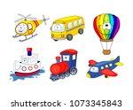 cartoon transport set. air... | Shutterstock .eps vector #1073345843