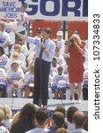 Small photo of Senator Al Gore on the Clinton/Gore 1992 Buscapade campaign tour in Toledo, Ohio