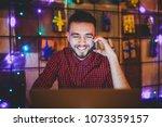 young handsome caucasian man... | Shutterstock . vector #1073359157