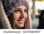 girl portrait in outdoor night... | Shutterstock . vector #1073360507