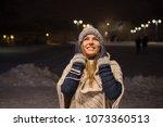 girl portrait in outdoor night... | Shutterstock . vector #1073360513