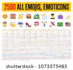 All type of emojis, stickers, emoticons flat vector illustration symbols. All world countries flags, Hands, man, woman, workers, fruit drinks food house, animals, activity, sport icons set, collection | Shutterstock vector #1073375483