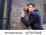 Fashionable Man in Suit Jacket. - stock photo