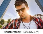 Vogue style photo of a handsome man. - stock photo