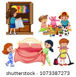 children playing indoors | Shutterstock .eps vector #1073387273