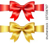 2 ribbons  red and gold gift... | Shutterstock .eps vector #107338787