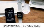 paris  france   apr 12 2018 ...   Shutterstock . vector #1073394683