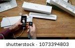 paris  france   apr 12 2018 ...   Shutterstock . vector #1073394803