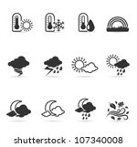 Weather icon set  in single color. Transparent shadows placed on separated layer. - stock vector