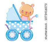 bear teddy animal inside baby... | Shutterstock .eps vector #1073416073