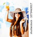 cute bright woman in sunglasses ... | Shutterstock . vector #1073463017