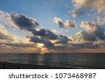 sunrise scene at caribbean sea...   Shutterstock . vector #1073468987