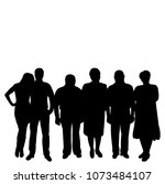 silhouette people stand  crowd  ... | Shutterstock .eps vector #1073484107