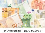 pile of paper euro banknotes as ... | Shutterstock . vector #1073501987