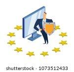 gdpr  rgpd  dsgvo concept... | Shutterstock .eps vector #1073512433