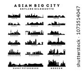 collection of asian big city... | Shutterstock .eps vector #1073514047