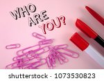 Small photo of Writing note showing Who Are You Question. Business photo showcasing Introduce or Identify Yourself Tell your Personal Story written on plain Pink background Pen Marker and Paper Pins next to it.