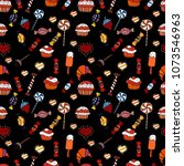colorful  retro hand... | Shutterstock .eps vector #1073546963