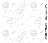 hand drawn vector pattern with... | Shutterstock .eps vector #1073623397