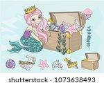 sea clipart mermaid's treasures ...   Shutterstock .eps vector #1073638493