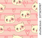 cat vector pattern  print... | Shutterstock .eps vector #1073654987