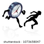 a woman running from a clock or ... | Shutterstock .eps vector #1073658047