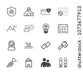 premium outline set of icons... | Shutterstock .eps vector #1073677913