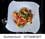 spaghetti spicy seafood ... | Shutterstock . vector #1073680307