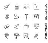 premium outline set of icons... | Shutterstock .eps vector #1073681627