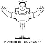 a cartoon hiker ready to give a ... | Shutterstock .eps vector #1073733347