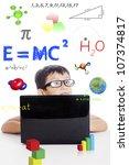 portrait of smart boy with... | Shutterstock . vector #107374817
