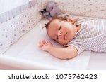 newborn baby boy sleeping in... | Shutterstock . vector #1073762423