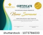 certificate template with wave... | Shutterstock .eps vector #1073786033