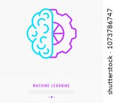 machine learning thin line icon ... | Shutterstock .eps vector #1073786747
