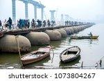 boat with wooden bridge on...   Shutterstock . vector #1073804267