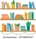 vector illustration of a shelf... | Shutterstock .eps vector #1073805467